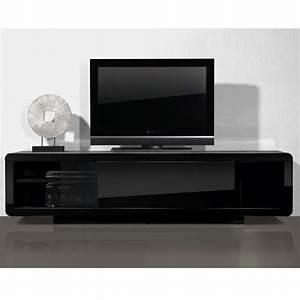 Meuble Laqué Noir : meuble tele bas laque noir ~ Premium-room.com Idées de Décoration