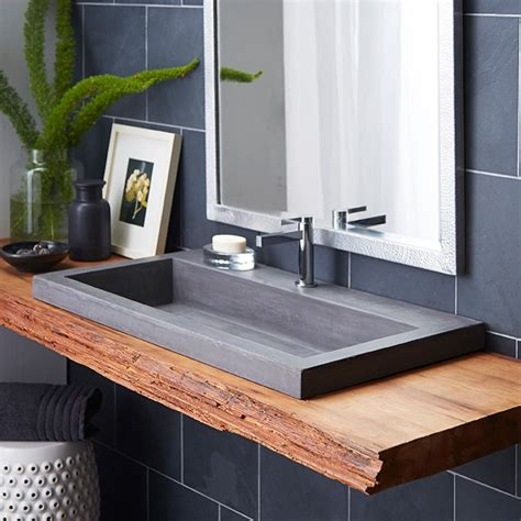 trough  nativestone rectangular bathroom sink bathrooms pinterest