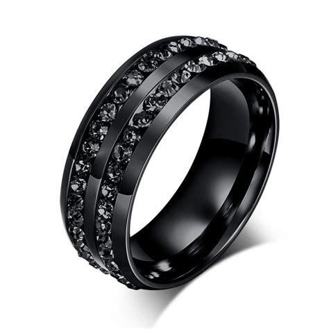 cool black cz stainless steel rings titanium wedding band size 6 13 ebay