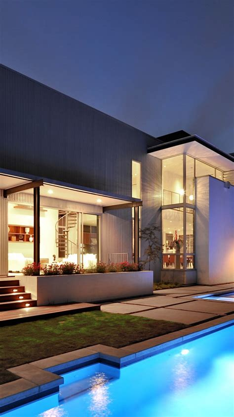 Exterior Wallpaper by Wallpaper House Mansion Pool Modern Interior High