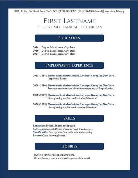 Free Cv Templates To Use by Free Cv Templates 156 To 162 Free Cv Template