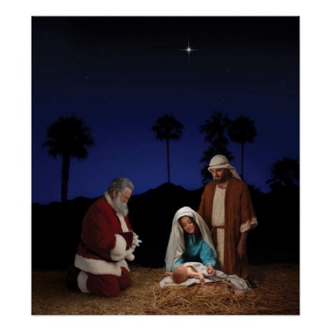 santa kneeling at nativity poster zazzle