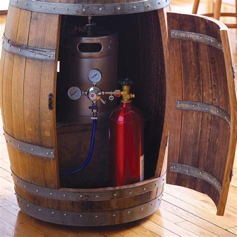 recycled wine barrel kegerator  green head
