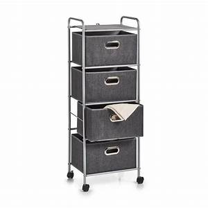 Meuble Rangement Gris : meuble rangement 4 tiroirs tissu gris metal zeller 17159 ~ Teatrodelosmanantiales.com Idées de Décoration