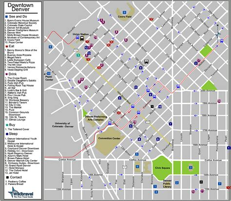 downtown denver colorado tourist map denver  mappery