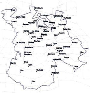foto de La carte de France déformée par le TGV La Jaune et la Rouge