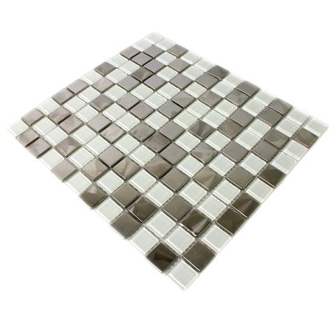 stainless steel glass mosaic tiles white silver mix