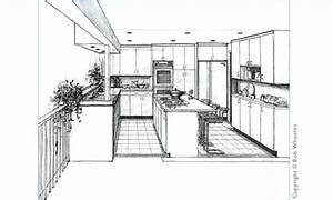 Kitchen Perspective Drawing by Kitchenplans