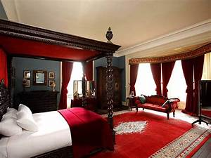 Breathtaking Black And Red Bedroom With Black Bed