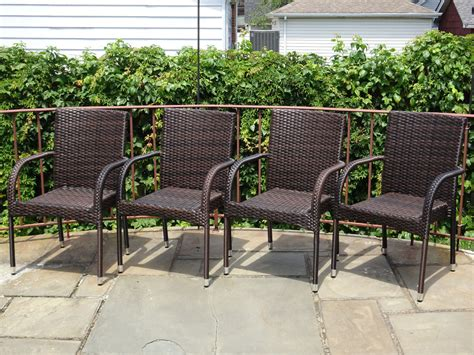 set of 4 patio resin outdoor garden deck wicker dining arm