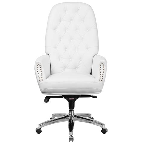 high back traditional tufted white leather multifunction