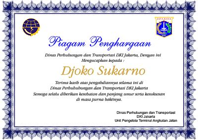 piagam  sertifikat  penghargaan maupun ucapan