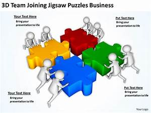 3d Team Joining Jigsaw Puzzles Business Ppt Graphics Icons