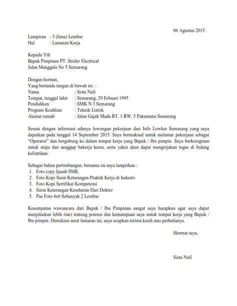Contoh Kepala Surat Lamaran Kerja by Contoh Surat Lamaran Kerja Bagian Produksi Sebagai