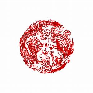 Pre Inked Stamp Chinese Dragon And Phoenix