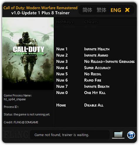 call  duty  modern warfare remastered trainer