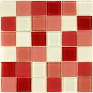 mosaique verre credence cuisine verre mosaique douche rouge With mosaique rouge salle de bain