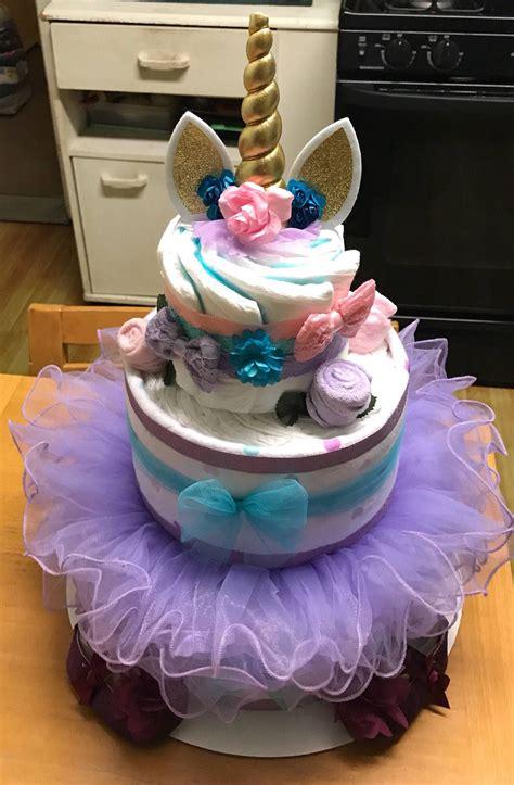color unicorn diaper cake diaper cakes