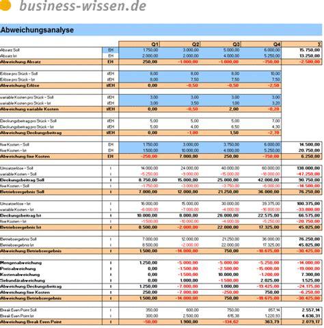 abweichungsanalyse des betriebsergebnisses excel tabelle