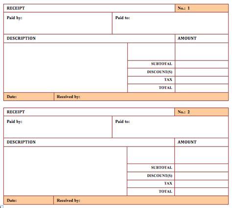 hotel receipt templates word templates