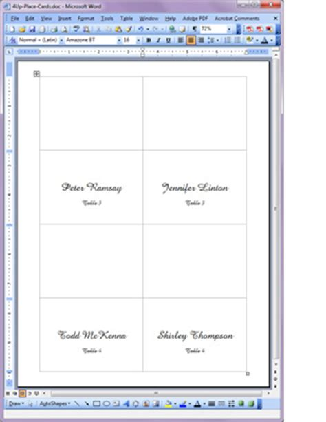 tent card template 4 per sheet printable place cards printable table place cards