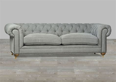upholstered sofa grey chesterfield style button tufted