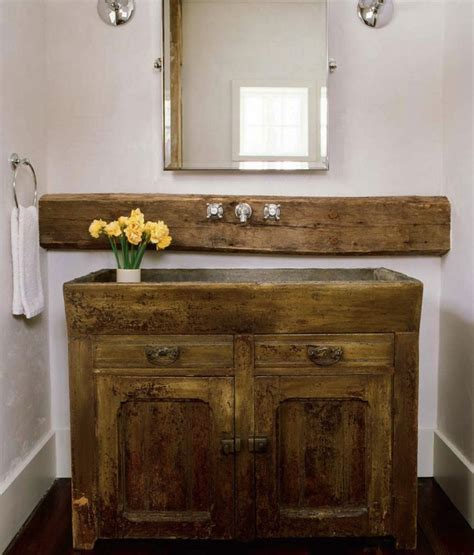 salvaged wood sink vanity country bathroom chatelaine