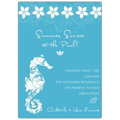 seahorse floral blue cocktail pool party invitations