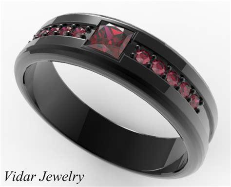 princess cut ruby wedding band for him in black gold vidar jewelry unique custom engagement