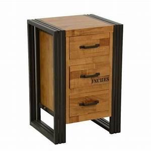 Commode Bois Et Metal : commode chiffonnier bois recycl naturel et m tal noirci 3 tiroirs 40x35x60cm docker ~ Teatrodelosmanantiales.com Idées de Décoration