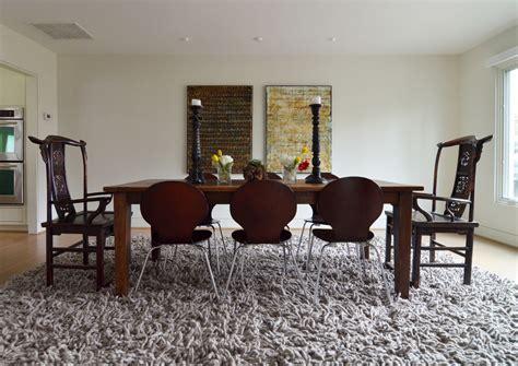 rug under dining table innovative grey shag rug decorating ideas for living room