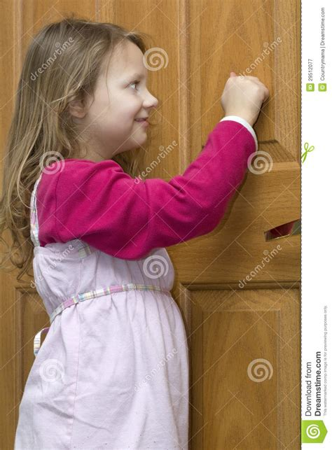 knocking stock image image  smile door child female