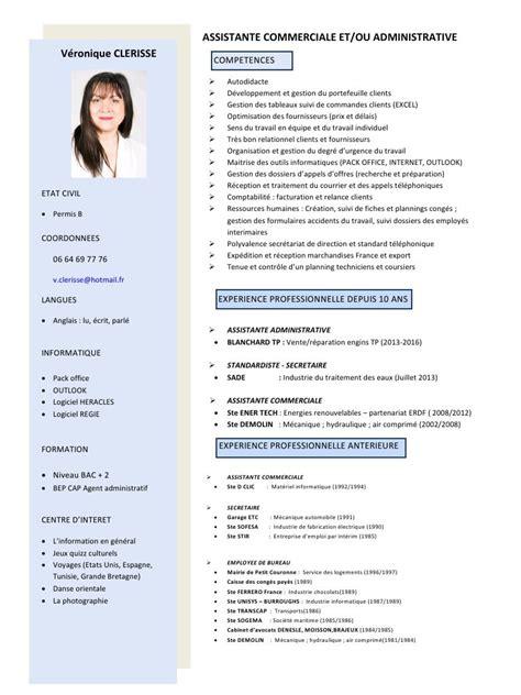 Matrice Cv by Cv Assistante Commerciale 2 Fichier Pdf