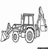 Coloring Loader Backhoe Birthday Construction Outline Everyday Lessons Toys Stuff Cat English sketch template