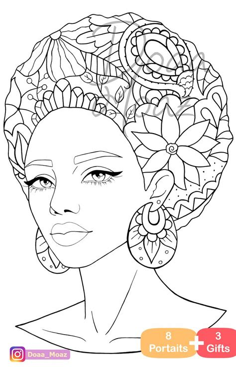 adult coloring book  gray scale portraits coloring pages  printable anti stress relaxing