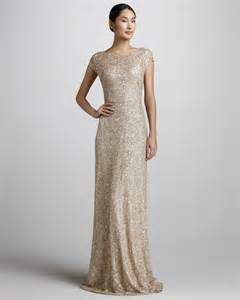 neiman bridesmaid david meister signature sequined cap sleeve gown