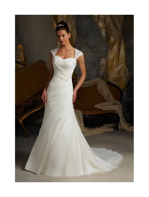 Mori Lee 5103 Pleated Drape Wedding Dress With Lace Detail