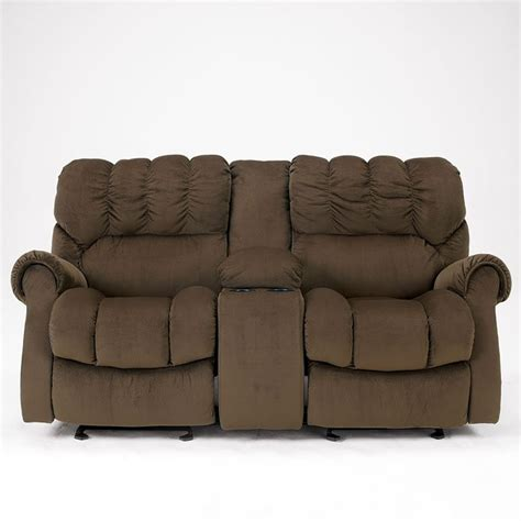 Dual Glider Reclining Loveseat by Sorrell Java Dual Glider Reclining Loveseat W Console