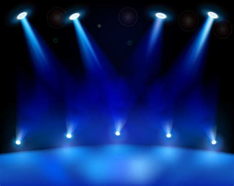 sources of blue light realistic blue stage light background vector download
