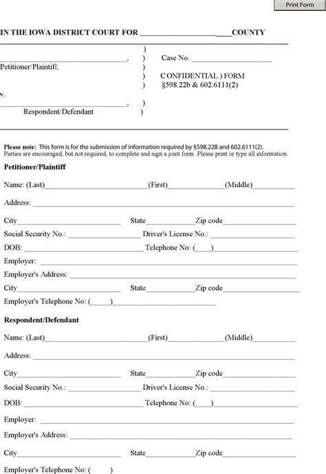 10 iowa divorce papers free