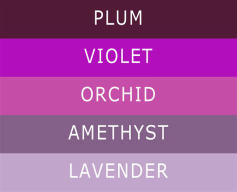 different color purples 5 different shades of purple wedding colors