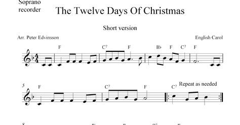 The Twelve Days Of Christmas, Free Soprano Recorder Sheet Music Notes