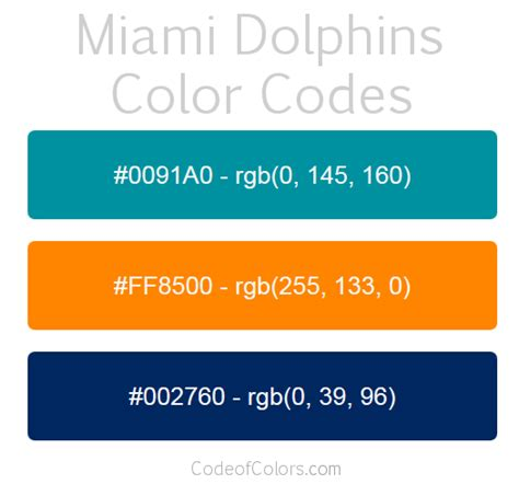 miami dolphins colors hex  rgb color codes