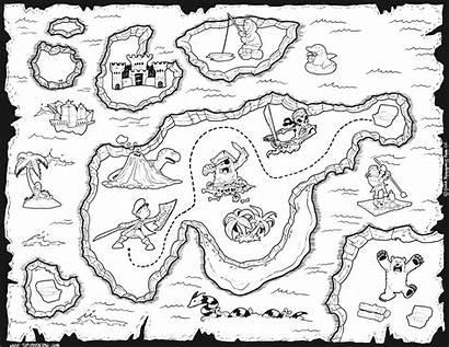 Map Coloring Treasure Cartoon North America Animals