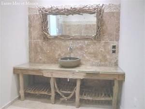 Meuble Salle De Bain Bois Naturel : meuble salle de bain bois naturel belle meuble de salle bain minimaliste en bois brut trs design ~ Teatrodelosmanantiales.com Idées de Décoration