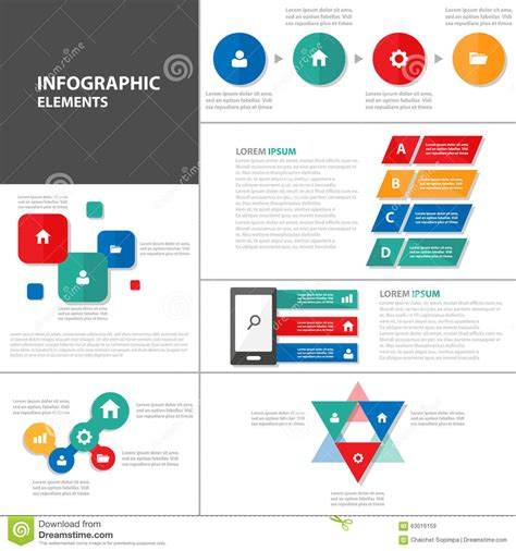 Colorful Infographic Presentation Template Brochure Flyer Colorful Presentation Template Infographic Elements Flat