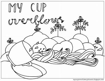 Coloring Psalm Pages Cup Overflows Psalms Printable