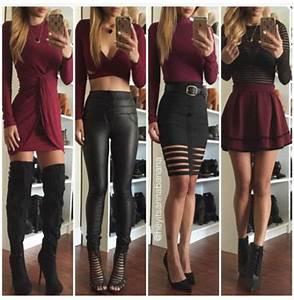 Dress burgundy black black leggings leather leggings ...
