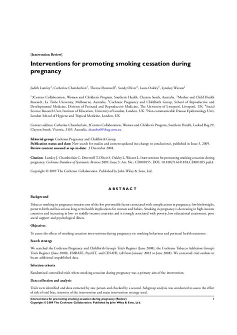 Interventions for promoting smoking cessation during