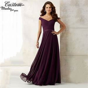 elegant a line cheap wedding party dress plum chiffon long With plum dresses for weddings